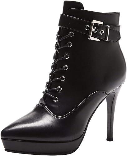 HBDLH Chaussures pour Femmes Chaussures La Hauteur du Talon De 11 Cm A Souligné 100 Ensembles La Boucle De Ceinture Nues Cravate De Bottes Bottes Bien des Talons Velours Coton Bottes