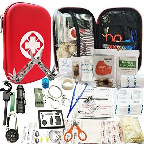 Heman779t Survival Kits, Outdoor-Notfall-SOS-Überlebenskit für Wildnis/Trip/Autos/Wandern/Campingausrüstung, Notfall-Erste-Hilfe-Set mit Drahtsäge, Notfalldecke, Taschenlampe, taktischem Stift, ect