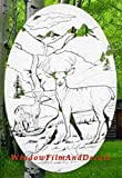 Deer Scene Oval Etched Window Decal Vinyl Glass Cling - 15' x 23' - White with Clear Design Elements