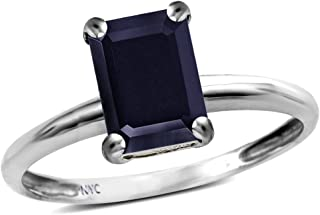 Star K Solid 10k Gold Classic Octagon Emerald Cut 8x6mm Solitaire Engagement Promise Ring