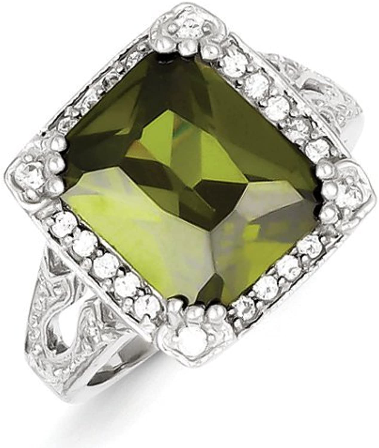 gold and Watches Sterling Silver Green & Clear CZ Ring