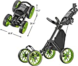 CaddyTek Caddycruiser One Version 8 - One-Click Folding 4 Wheel Golf Push Cart, Lime