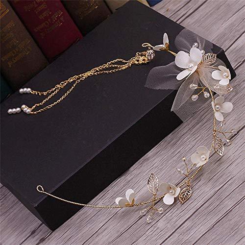 Littlefairy Braut Haarschmuck,Braut Kopfschmuck Handgemachte Einfache Blatt haarblume Ornament Tuch krönen 6,5 * 40 cm