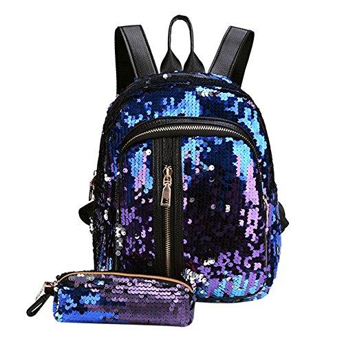 UEB 2pcs/Set Zaino con Paillettes Glitterati + Astuccio Portapenne Borsa da Scuola per Bambini Ragazze (Blu+Viola)