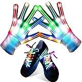 Qrooper LED Gloves for Kids LED Shoelaces ,Flashing Light Up Gloves Combination, Popular Kids Toys for Boys &Girls