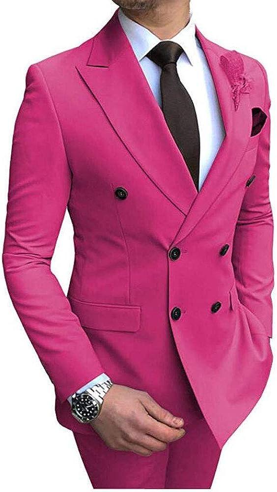 Men's 2 Pieces Double Breast Suit Slim Fit Mens Groom Wedding Tuxedos Suits Prom Pary Suits
