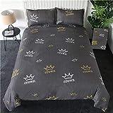 CAOCHENXI Ananas Bettwäsche Set, grau gestreifte Bettdecke Set, Wendebettdecken, Queen, Tropical Bettwäsche
