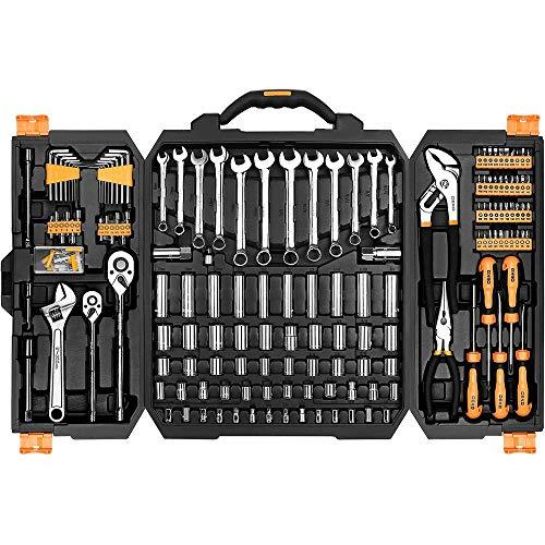 DEKO 192-teiliger Steckschlüssel Satz, Werkzeugkasten Werkzeugkiste Heimwerker Werkzeugset Profi Stecknuss-Set für DIY