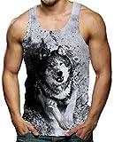 RAISEVERN Herren Tanktop Wolf Tank Top Tankshirt mit Print Ärmellose T-Shirts Weste Muskelshirt S