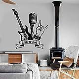 Tianpengyuanshuai Rock Tatuajes de Pared música Rock Guitarra micrófono Sala de música decoración Vinilo Adhesivo de Pared Mural 102x111cm
