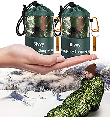 Timok Emergency Sleeping Bags Thermal-Emergency-Blankets?2 Packs Ultralight Space Blankets Survival Waterproof Bivy Sack Multi-Purpose Outdoor Survival Gear for Hiking, Camping, First Aid Kits, Camo