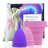 Copa Menstrual Reutilizable de Silicona 100% Grado Médico Suave y Flexible Con Esterilizador Plegable y Bolsa Para Desinfección - Incluye 2 Copas Menstruales Talla S y L LR