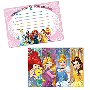 16PCS Prin_cess Cartoon Party Invitations Cards for Kids Birthday Party Supplies 5×7Inches