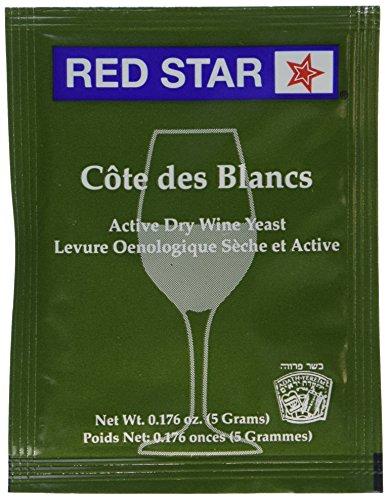 Red Star Cote des Blancs Wine Yeast, 5 Gram - 10-Pack