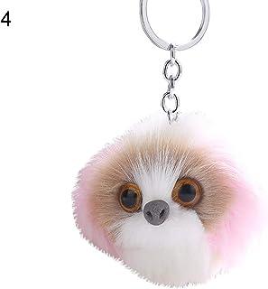 Sanwooden Cute Key Chain Elegant Fluffy Owl Animal Pompom Ball Pendant Key Ring Keychain Car Bag Ornament Girl Fashion Accessories