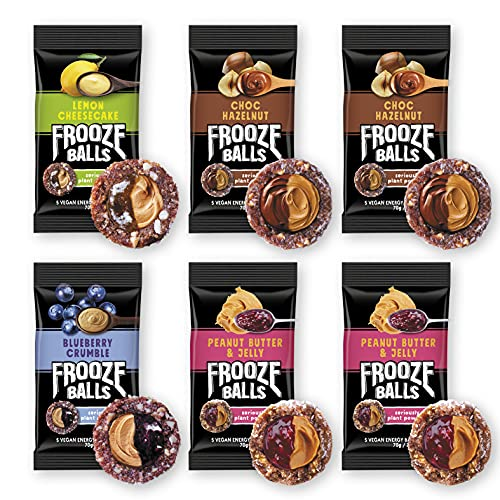 Frooze Balls Plant Protein Powered Vegan Snack Double Filled Energy Balls, Variety Pack (Pack of 6) Each Pack Has 5 Balls!