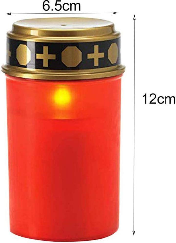 Resistente Alle Intemperie Luce Di Cimitero con Effetto Tremolante AllAperto Decorazione Effetto Fiamma Colore Rosso Yiize Candele Led Solare Bianca Candela Votiva
