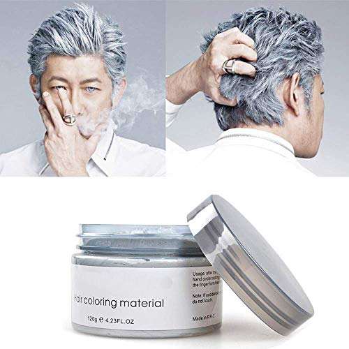 2st Silvergrå hårfärg Dye Wax 4.23 oz, Instant Hair Wax Disposable Natural Hairstyle Cream Mud Instant Hairstyle Mud Cream för fest, cosplay, maskerad etc.