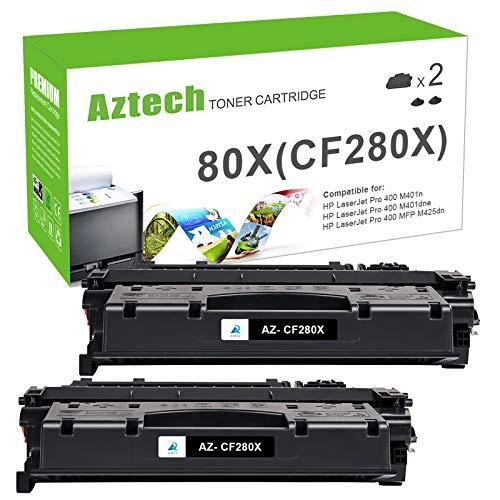 Aztech Compatible Toner Cartridge Replacement for HP CF280X 80X 80A CF280A Laserjet Pro 400 M401D M401N M401A M401DNE MFP M425DN (Black, 2-Packs)