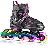 KAQINU Adjustable Inline Skates, Rollerblades Roller Skates with Full Illuminating Wheels for Kids and Youth, Girls and Boys (Pink, L)