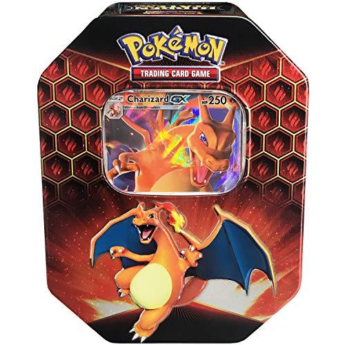 Pokemon SM11.5 Hidden Fates Gx Tin- Charizard + 1 of 3 Foil Pokémon-GX Cards + 4 Booster Pack, Multicolor