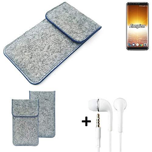 K-S-Trade Filz Schutz Hülle Für Energizer P600S Schutzhülle Filztasche Pouch Tasche Handyhülle Filzhülle Hellgrau, Blauer Rand + Kopfhörer