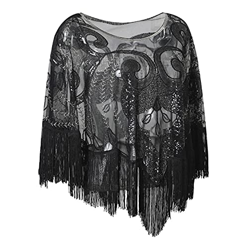 miaoyu Vintage Sequin Tassel Evening Cape Flapper Party Fringed Shawl Wraps Embroidery Pullover Wedding Bridal Shawl Scarf (Color : Black, Size : One size)