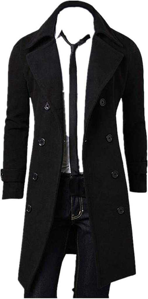 Winter Men Slim Tops Stylish Trench Coat Double Breasted Long Jacket Parka