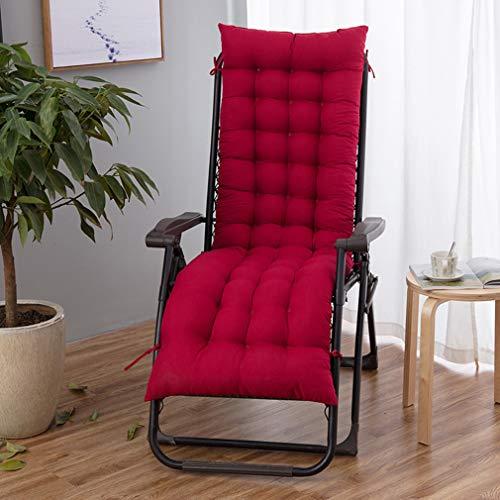 hanyaqi - Cojín reclinable para tumbona, cojín reclinable, cojín para silla mecedora, exterior interior, terraza de jardín, cojín reclinable 155 x 48, color rojo