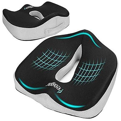Cojin Coxis de Espuma Memoria Portátil?Cojines para sillas de Oficina, Coche, Sillas Gaming, Rueda, Funda lavable, Negro