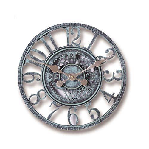 Ashley GAO Creative Outdoor Garten Wanduhr Wasserdicht Vintage Garten Ornament Hollow Gear Römische Ziffern Hängende Uhr