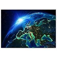 キャンバスペインティング スペースランドスケープウォールアートキャンバスは、現代の壁のポスターを印刷し、壁のクアドロスの装飾にスペースキャンバスの絵画から地球を印刷します 60x80cm