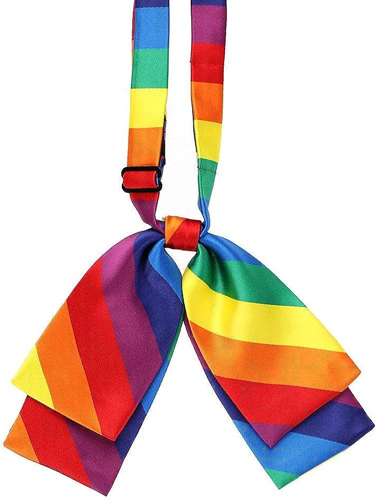 TieMart Rainbow Striped Floppy Bow Tie