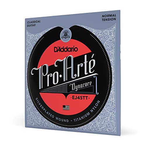 D'Addario EJ45TT ProArte DynaCore Classical Guitar Strings, Titanium Trebles, Normal Tension Classical Guitar Strings Tie End