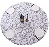 Round Vinyl Fitted Tablecloth with Flannel Backing Elastic Edge Design Heavy Duty Table Cover Waterproof Oil-Proof PVC Table Cloth Stain-Resistant Wipeable for Round Table