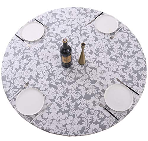 Round Vinyl Fitted Tablecloth with Flannel Backing Elastic Edge Design Heavy Duty Table Cover Waterproof Oil-Proof PVC Table Cloth Stain-Resistant...
