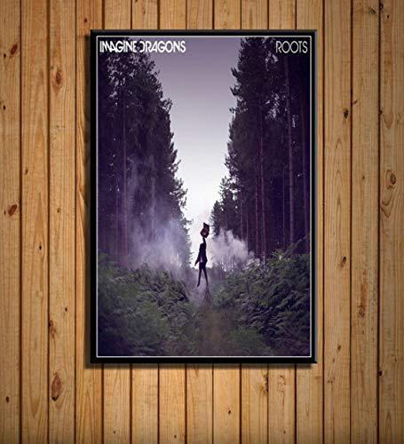 LGXINGLIyidian Stellen Sie Sich Drachen Rockmusik Band Stars Evolve Origins Poster Leinwanddrucke Kunst Gemälde Wandbilder Für Wohnzimmer Home Decor N243 40X50Cm