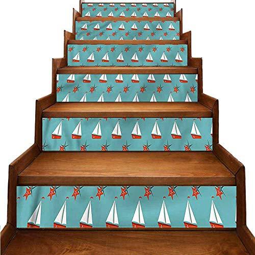 JiuYIBB - Pegatinas de vinilo para escaleras, barcos, estrellas de mar, resistencia a la humedad