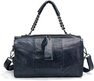 Fine Bag/Leather Handbag Stitching Casual Shoulder Bag Ladies Fashion Diagonal Bag Multi-Pocket Capacity (Color : Blue, Size : One Size)