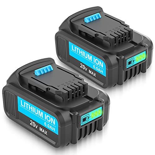 2 Packs 6000mAh DCB206 DCB207 DCB200 Replacement for Dewalt 20V Battery Max XR DCB201 DCB203 DCB204 DCB205 CB205-2 DCB180 DCD985B DCD771C2 DCS355D 1Compatible with DCD/DCF/DCG/DCS 20 Volt Series Tools
