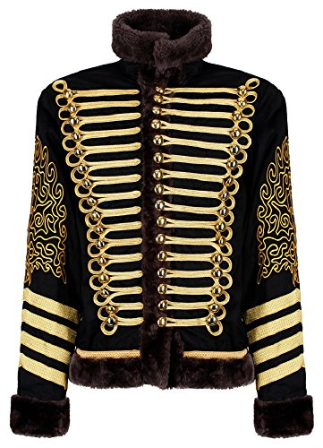 Ro Rox Men's Hussar Steampunk Parade Jacket Faux Fur (Black and Gold, Men's XS)