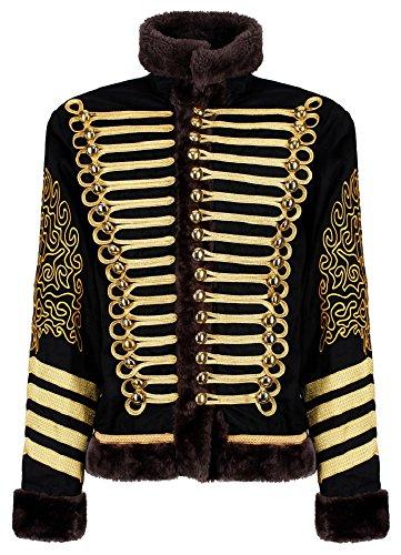 Ro Rox Herren Jimi Hendrix Gold Husar Parade Jacke Faux Pelz - Schwarz & Gold (Herren L)