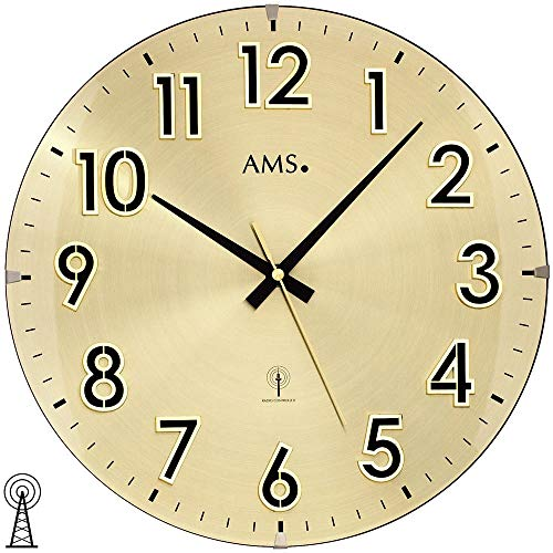 AMS 5974 Horloge murale radio-pilotée analogique en laiton Doré avec verre