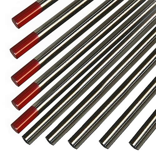 Electrodo de tungsteno WT20 (rojo), soldadura TIG versátil para acero al carbono, acero inoxidable, bronce de silicio, cobre, bronce, tantal y titanio (10, diámetro 2,4 x 175 mm)