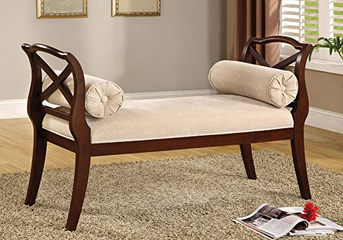1PerfectChoice Philipsberg Entry Hallway Bench Curved Armrests Ivory Padded Fabric Seat Cherry