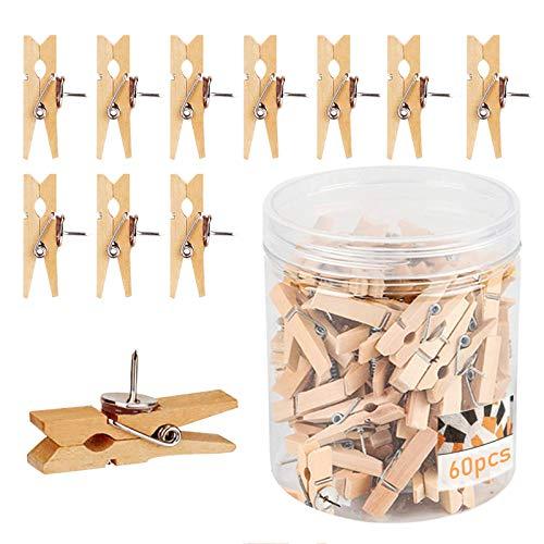 60 Pcs Wood Push Pin, Pins for Cork Board, Push Pins Decorative for Cork Board Thumbtack/Bulletin Board Cork Board Accessories