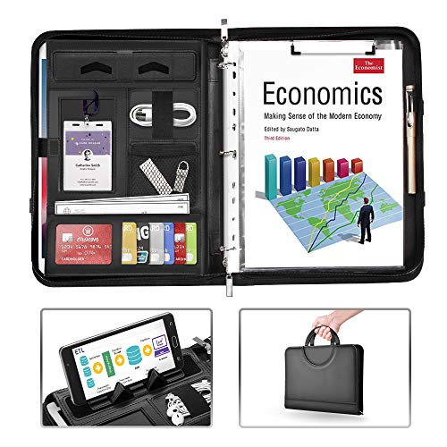 AtailorBird Padfolio, PU Leather Zippered Portfolio Folder with Phone Stand Holder & 3 Ring Binder Document Organizer for Business Interview Office, Black