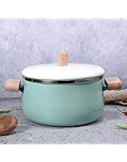 JMAHM Stockpots - Olla de leche antiadherente esmaltada con mango de madera, gran capacidad con tapa (olla para sopa verde)