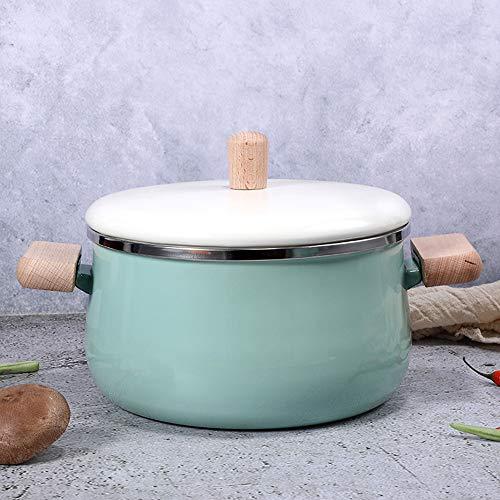 JMAHM Stockpots - Pentola smaltata, antiaderente, per latte, tè, caffè, uova, bollitore, manico in legno, grande capacità con coperchio (pentola verde per zuppa)