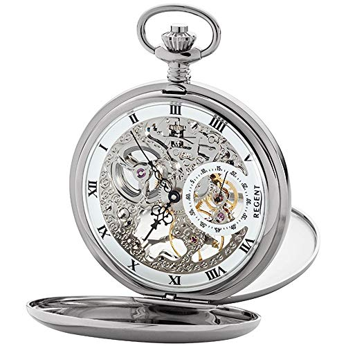 Regent Unisex-Armbanduhr Analog Handaufzug One Size, Silber